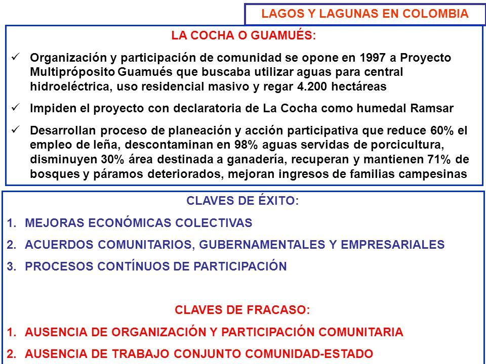 LAGOS Y LAGUNAS EN COLOMBIA LA COCHA O GUAMUÉS: Organización y participación de comunidad se opone en 1997 a Proyecto Multipróposito Guamués que busca