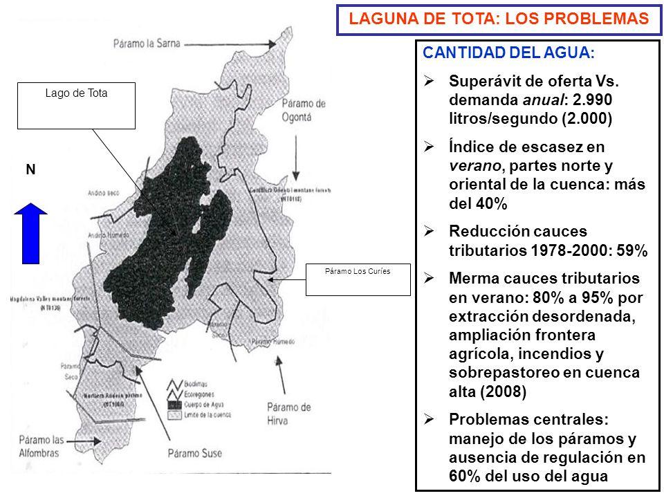 CANTIDAD DEL AGUA: Superávit de oferta Vs. demanda anual: 2.990 litros/segundo (2.000) Índice de escasez en verano, partes norte y oriental de la cuen