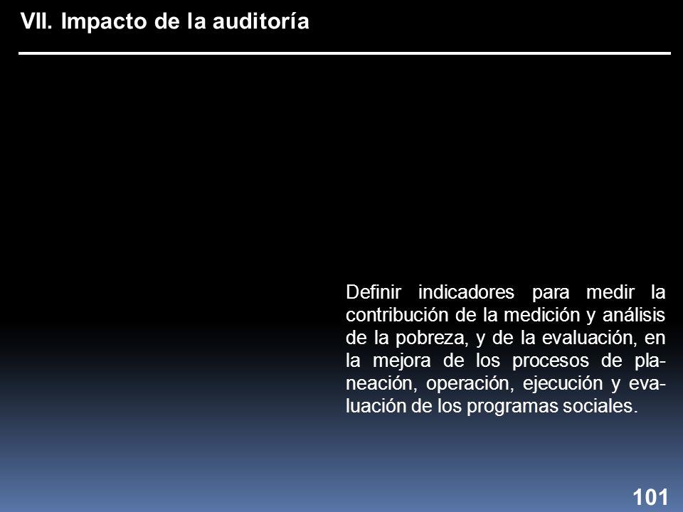 VII. Impacto de la auditoría Definir indicadores para medir la contribución de la medición y análisis de la pobreza, y de la evaluación, en la mejora