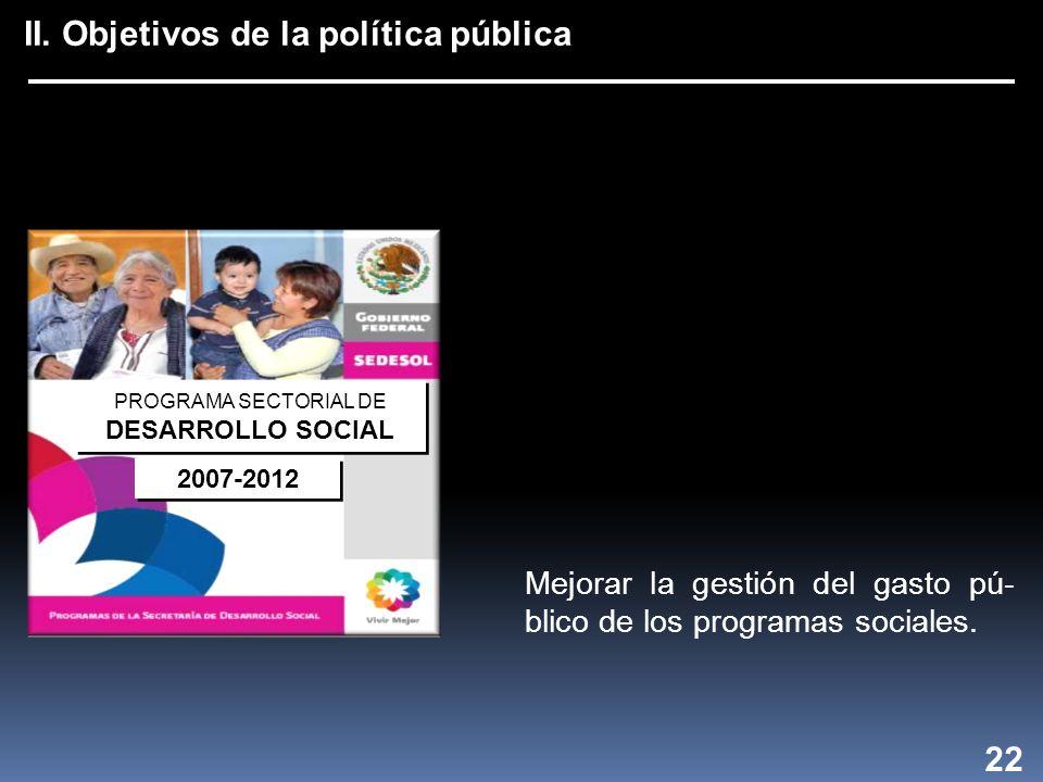 II. Objetivos de la política pública PROGRAMA SECTORIAL DE DESARROLLO SOCIAL PROGRAMA SECTORIAL DE DESARROLLO SOCIAL 2007-2012 22 Mejorar la gestión d