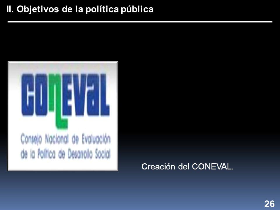 II. Objetivos de la política pública 26 Creación del CONEVAL.