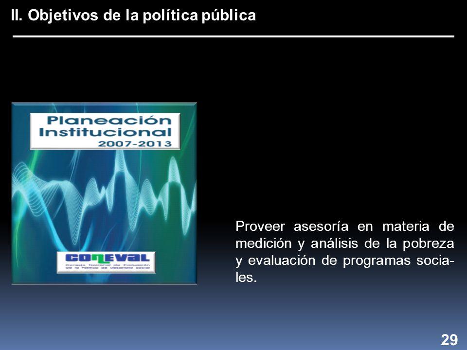 II. Objetivos de la política pública 29 Proveer asesoría en materia de medición y análisis de la pobreza y evaluación de programas socia- les.