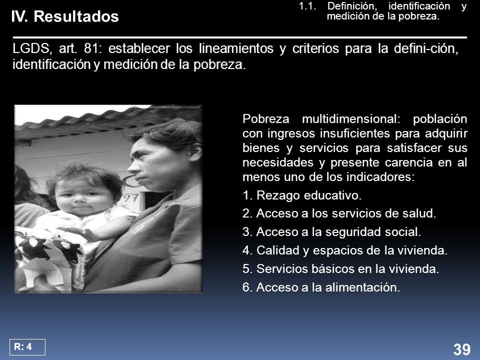 IV. Resultados Pobreza multidimensional: población con ingresos insuficientes para adquirir bienes y servicios para satisfacer sus necesidades y prese
