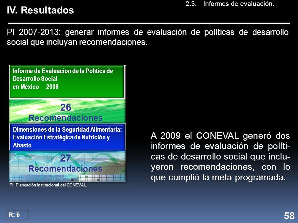 IV. Resultados PI 2007-2013: generar informes de evaluación de políticas de desarrollo social que incluyan recomendaciones. Dimensiones de la Segurida