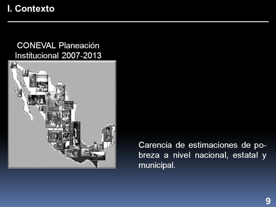 I. Contexto 9 Carencia de estimaciones de po- breza a nivel nacional, estatal y municipal.