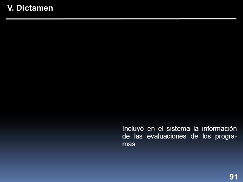 Incluyó en el sistema la información de las evaluaciones de los progra- mas. 91 V. Dictamen