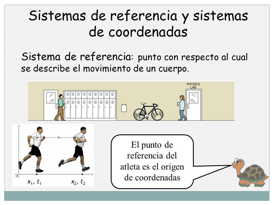 Sistemas de referencia y sistemas de coordenadas Sistema de referencia : punto con respecto al cual se describe el movimiento de un cuerpo.