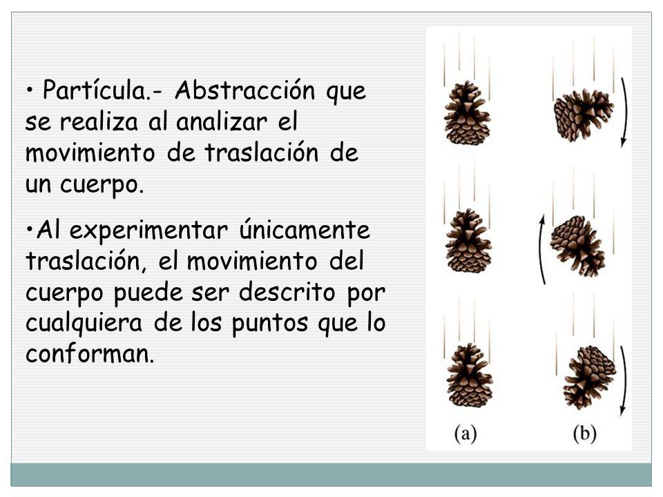 Partícula.- Abstracción que se realiza al analizar el movimiento de traslación de un cuerpo.