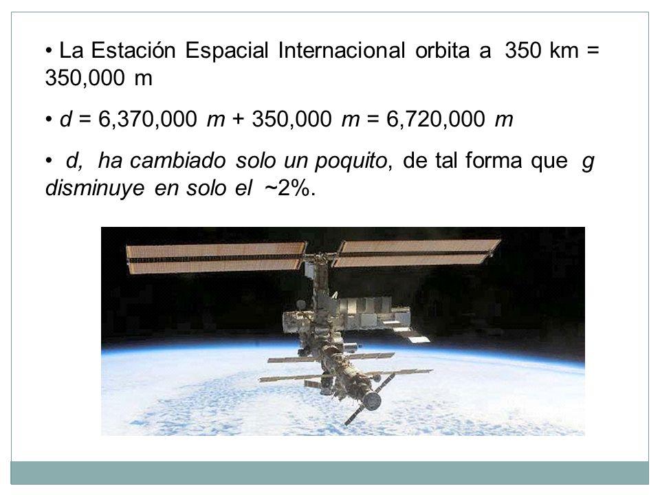La Estación Espacial Internacional orbita a 350 km = 350,000 m d = 6,370,000 m + 350,000 m = 6,720,000 m d, ha cambiado solo un poquito, de tal forma que g disminuye en solo el ~2%.