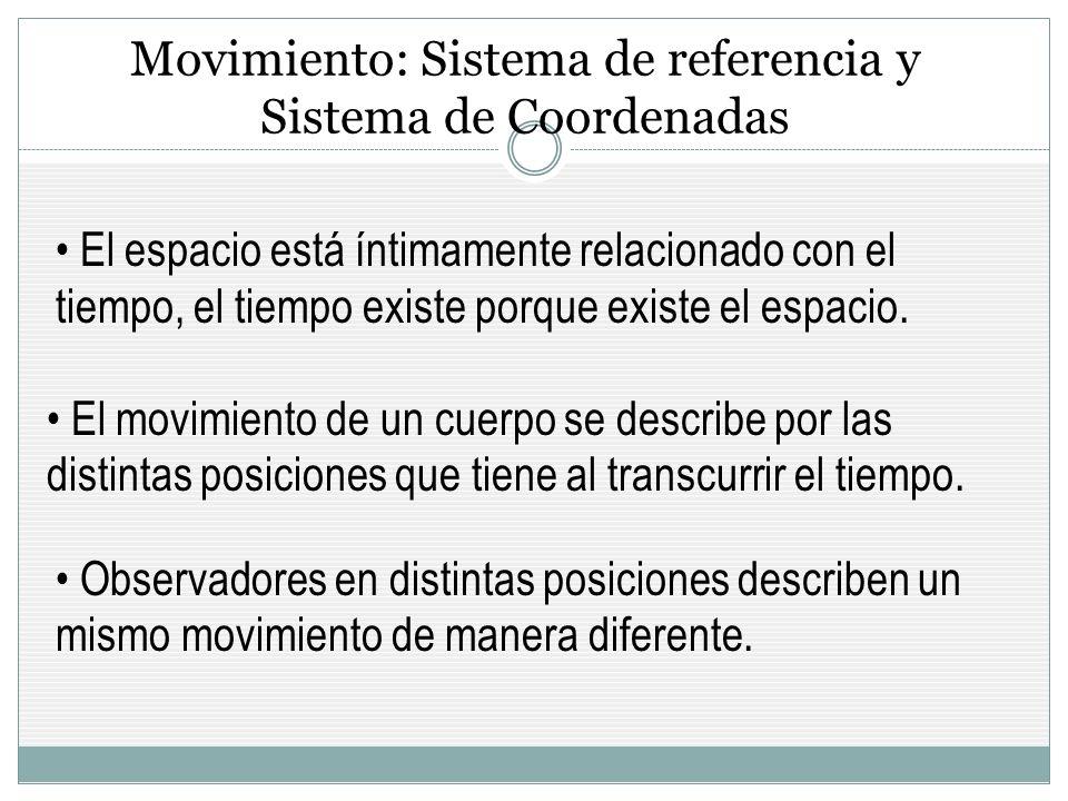 Movimiento: Sistema de referencia y Sistema de Coordenadas El espacio está íntimamente relacionado con el tiempo, el tiempo existe porque existe el espacio.