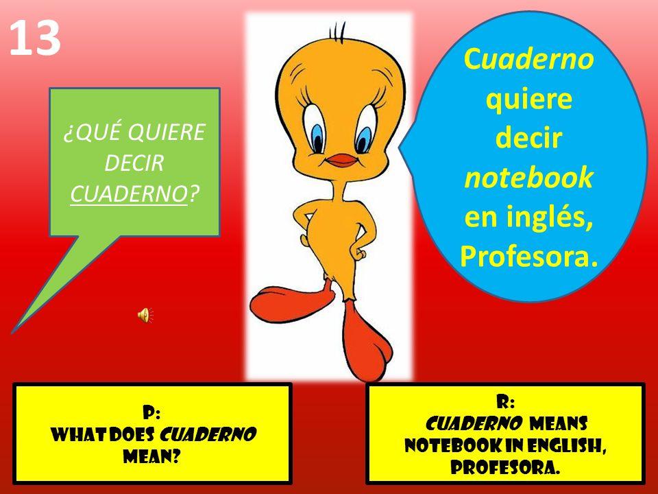 r: Cuaderno means notebook in English, profesora. p: WHAT DOES CUADERNO MEAN? 13 ¿QUÉ QUIERE DECIR CUADERNO? Cuaderno quiere decir notebook en inglés,