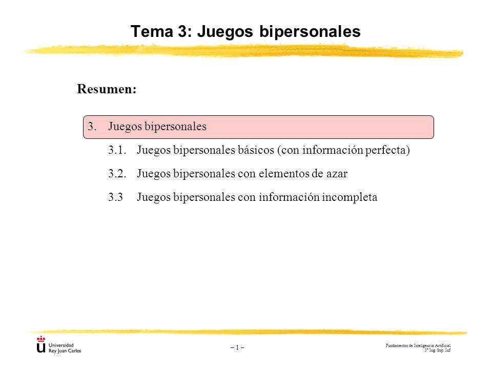Tema 3: Juegos bipersonales – 1 – 3.Juegos bipersonales 3.1.Juegos bipersonales básicos (con información perfecta) 3.2.Juegos bipersonales con element