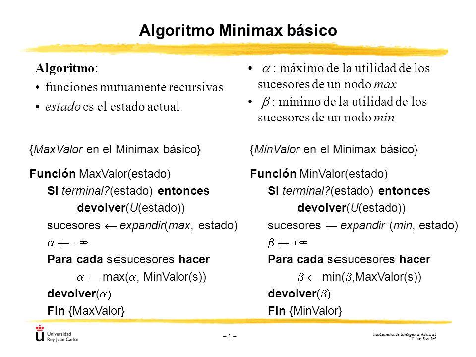 – 1 – {MinValor en el Minimax básico} Función MinValor(estado) Si terminal?(estado) entonces devolver(U(estado)) sucesores expandir (min, estado) Para