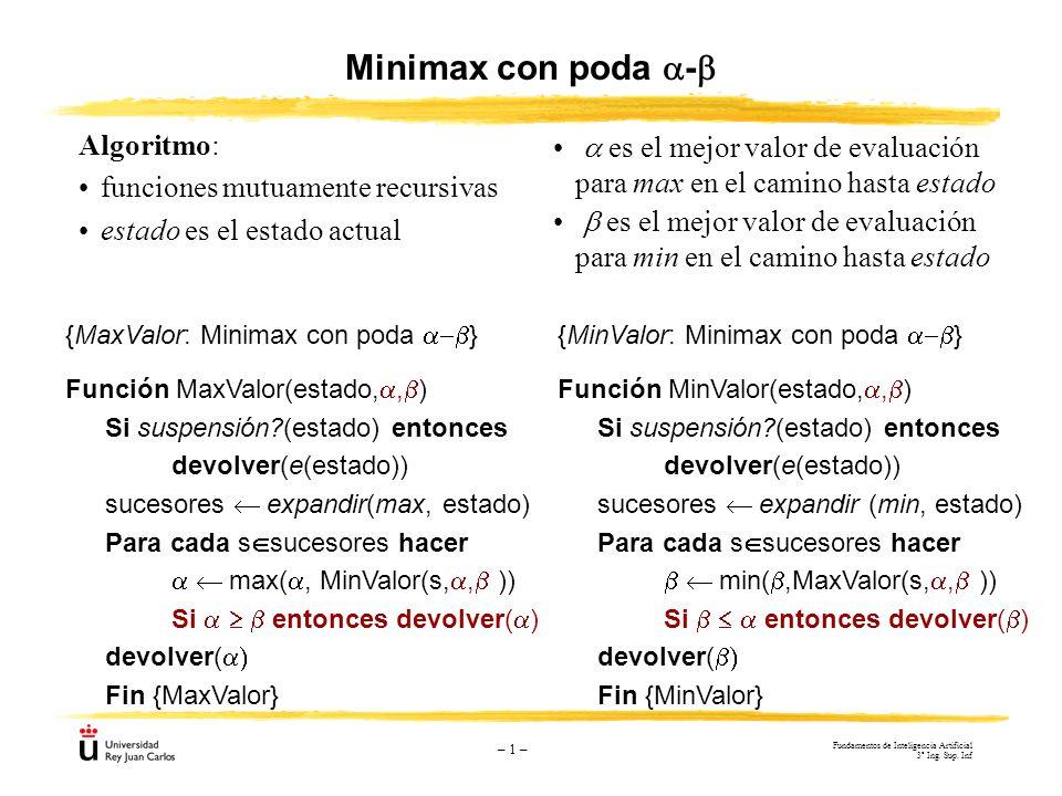 – 1 – {MinValor: Minimax con poda } Función MinValor(estado,, ) Si suspensión?(estado) entonces devolver(e(estado)) sucesores expandir (min, estado) P