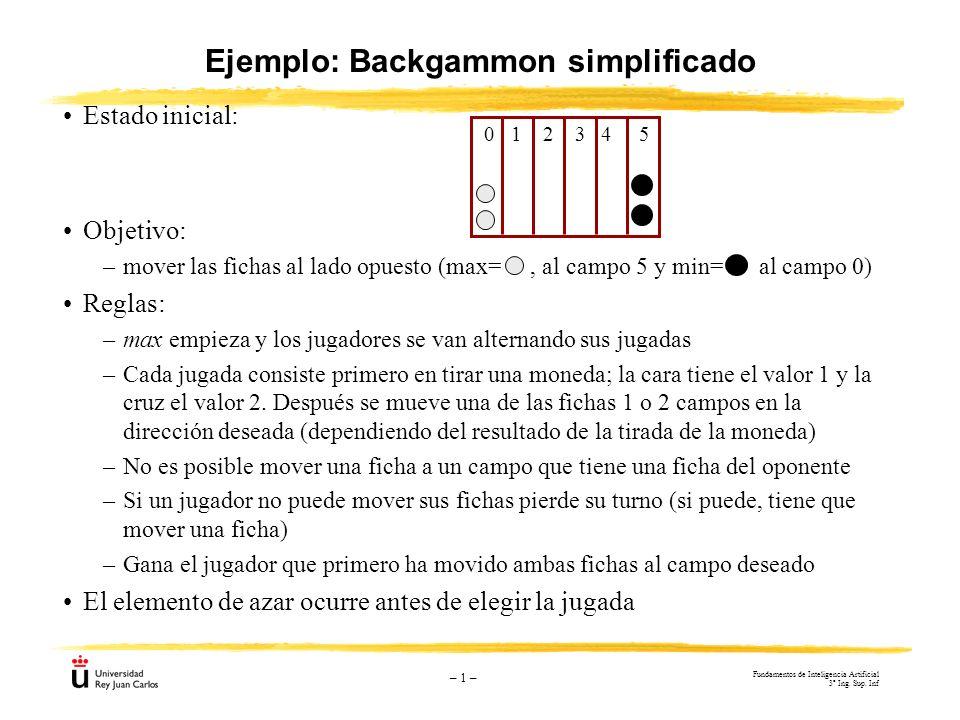 – 1 – Ejemplo: Backgammon simplificado Estado inicial: Objetivo: –mover las fichas al lado opuesto (max=, al campo 5 y min= al campo 0) Reglas: –max e