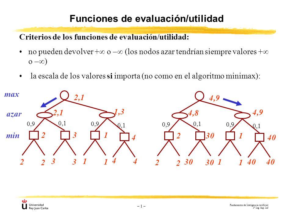 – 1 – Funciones de evaluación/utilidad Criterios de los funciones de evaluación/utilidad: no pueden devolver + o – (los nodos azar tendrían siempre va