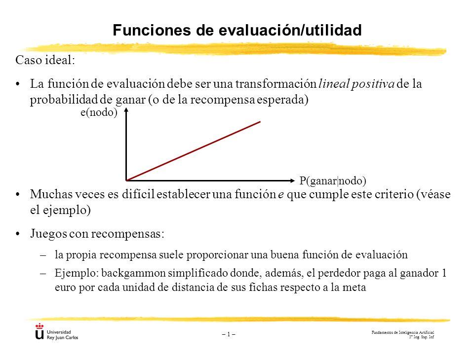 – 1 – Funciones de evaluación/utilidad Caso ideal: La función de evaluación debe ser una transformación lineal positiva de la probabilidad de ganar (o
