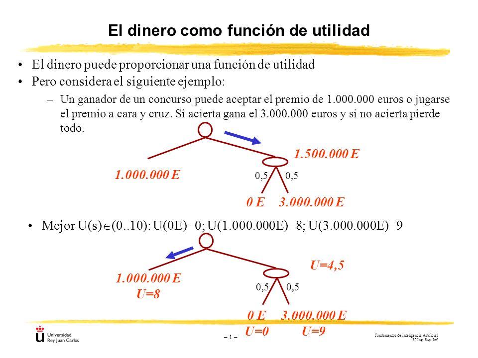 – 1 – El dinero como función de utilidad El dinero puede proporcionar una función de utilidad 1.500.000 E 0,5 3.000.000 E0 E 1.000.000 E Mejor U(s) (0