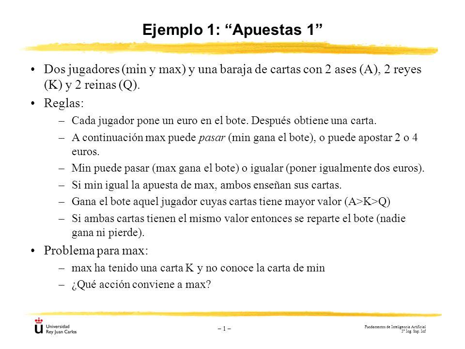– 1 – Ejemplo 1: Apuestas 1 Dos jugadores (min y max) y una baraja de cartas con 2 ases (A), 2 reyes (K) y 2 reinas (Q). Reglas: –Cada jugador pone un