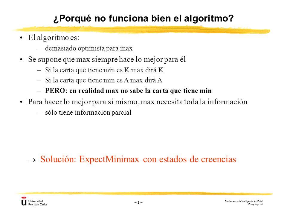 – 1 – ¿Porqué no funciona bien el algoritmo? El algoritmo es: –demasiado optimista para max Se supone que max siempre hace lo mejor para él –Si la car