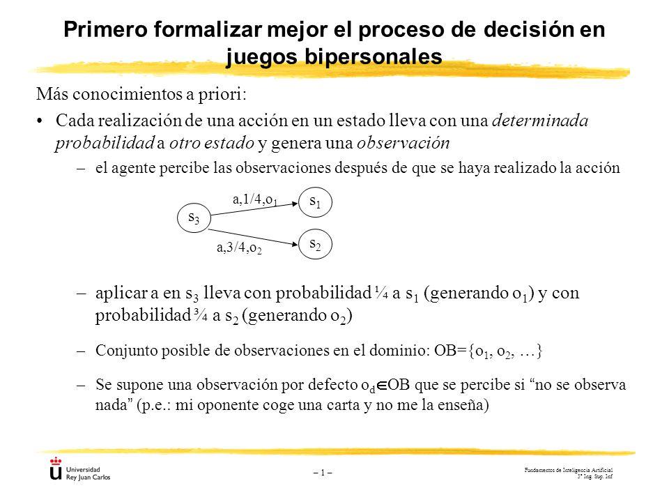 – 1 – Más conocimientos a priori: Cada realización de una acción en un estado lleva con una determinada probabilidad a otro estado y genera una observ