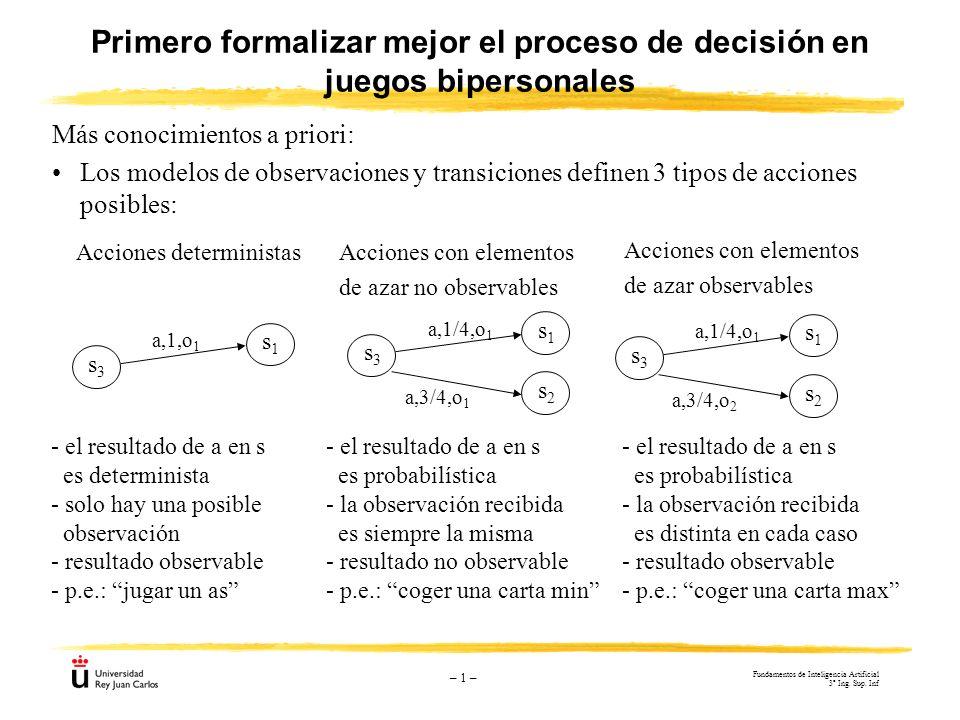 – 1 – Más conocimientos a priori: Los modelos de observaciones y transiciones definen 3 tipos de acciones posibles: Primero formalizar mejor el proces