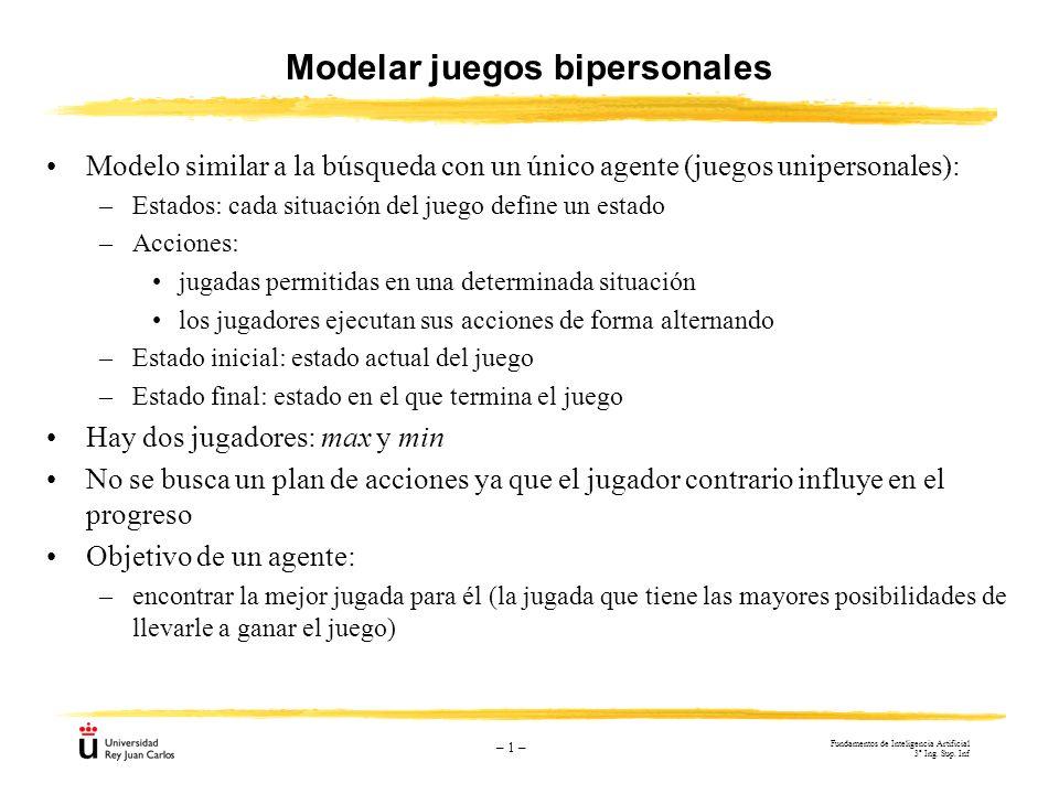 – 1 – Modelar juegos bipersonales Modelo similar a la búsqueda con un único agente (juegos unipersonales): –Estados: cada situación del juego define u