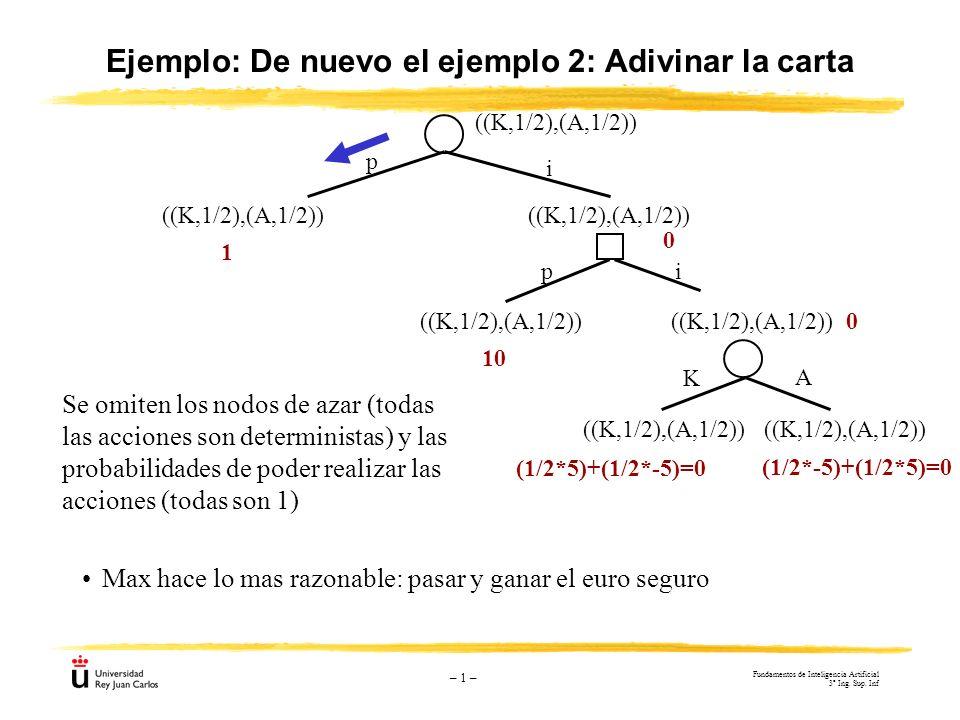 – 1 – Ejemplo: De nuevo el ejemplo 2: Adivinar la carta Max hace lo mas razonable: pasar y ganar el euro seguro ((K,1/2),(A,1/2)) 1 10 0 0 p i ((K,1/2