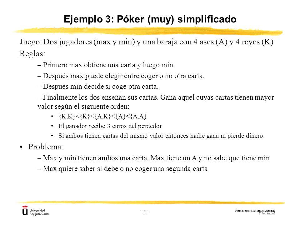 – 1 – Ejemplo 3: Póker (muy) simplificado Juego: Dos jugadores (max y min) y una baraja con 4 ases (A) y 4 reyes (K) Reglas: – Primero max obtiene una