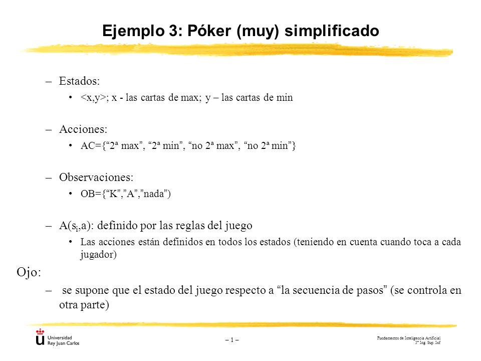 – 1 – Ejemplo 3: Póker (muy) simplificado –Estados: ; x - las cartas de max; y – las cartas de min –Acciones: AC={2ª max, 2ª min, no 2ª max, no 2ª min