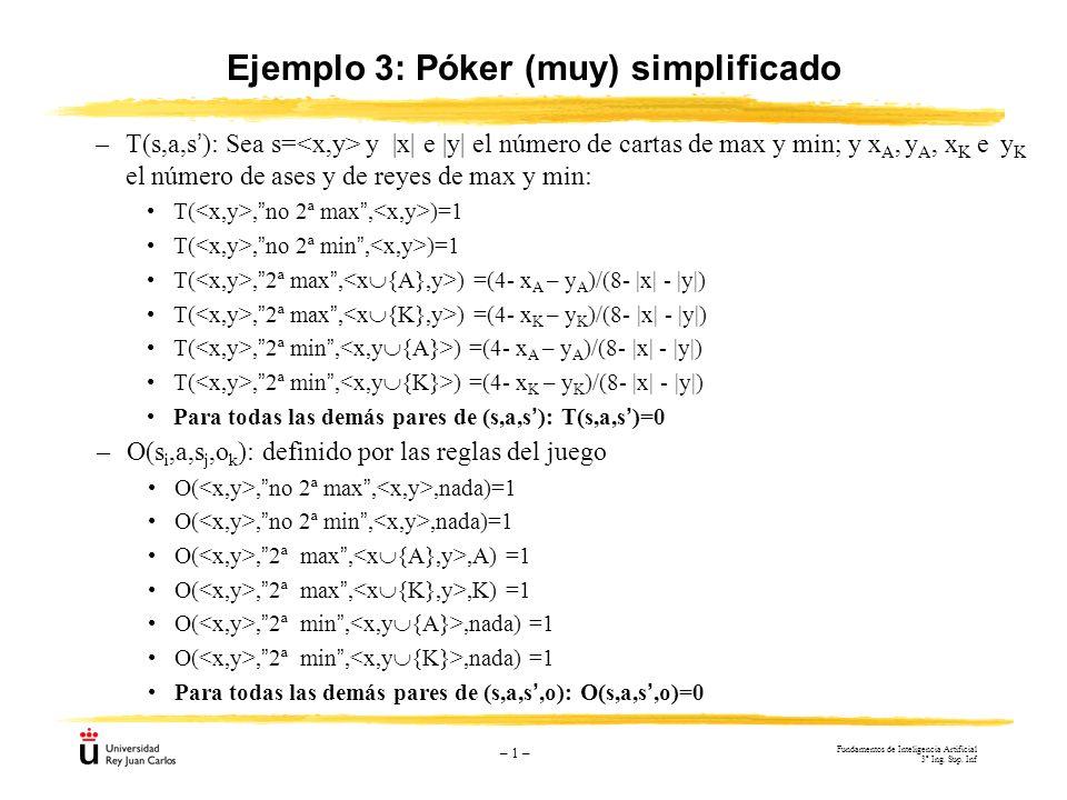 – 1 – Ejemplo 3: Póker (muy) simplificado –T(s,a,s): Sea s= y |x| e |y| el número de cartas de max y min; y x A, y A, x K e y K el número de ases y de