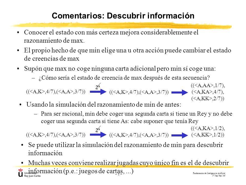 – 1 – Comentarios: Descubrir información Conocer el estado con más certeza mejora considerablemente el razonamiento de max. El propio hecho de que min