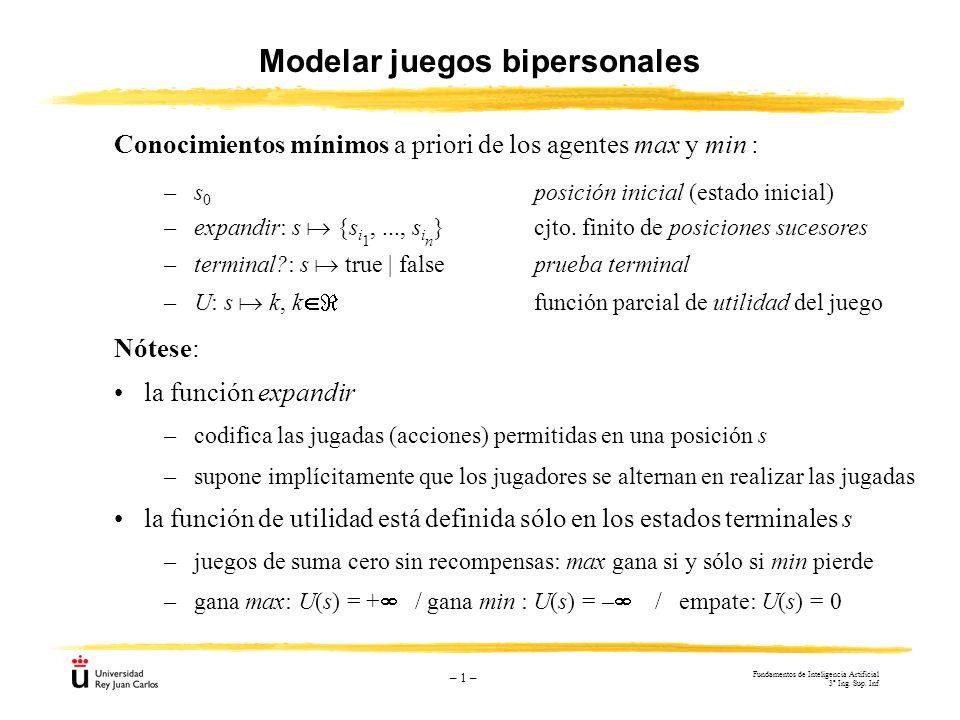 – 1 – Modelar juegos bipersonales Nótese: la función expandir –codifica las jugadas (acciones) permitidas en una posición s –supone implícitamente que