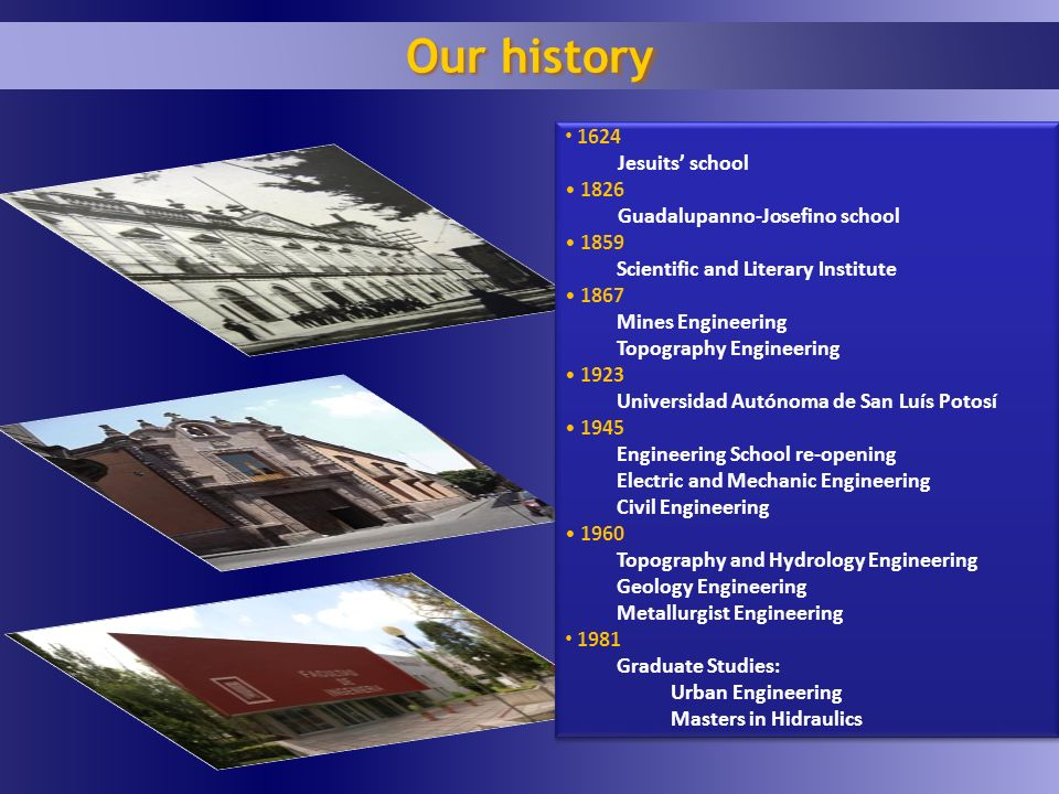 Our history 1624 Jesuits school 1826 Guadalupanno-Josefino school 1859 Scientific and Literary Institute 1867 Mines Engineering Topography Engineering 1923 Universidad Autónoma de San Luís Potosí 1945 Engineering School re-opening Electric and Mechanic Engineering Civil Engineering 1960 Topography and Hydrology Engineering Geology Engineering Metallurgist Engineering 1981 Graduate Studies: Urban Engineering Masters in Hidraulics 1624 Jesuits school 1826 Guadalupanno-Josefino school 1859 Scientific and Literary Institute 1867 Mines Engineering Topography Engineering 1923 Universidad Autónoma de San Luís Potosí 1945 Engineering School re-opening Electric and Mechanic Engineering Civil Engineering 1960 Topography and Hydrology Engineering Geology Engineering Metallurgist Engineering 1981 Graduate Studies: Urban Engineering Masters in Hidraulics