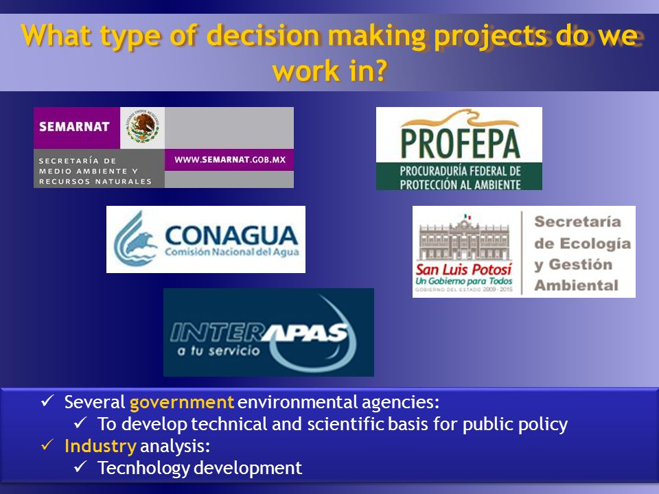 20 What type of decision making projects do we work in.