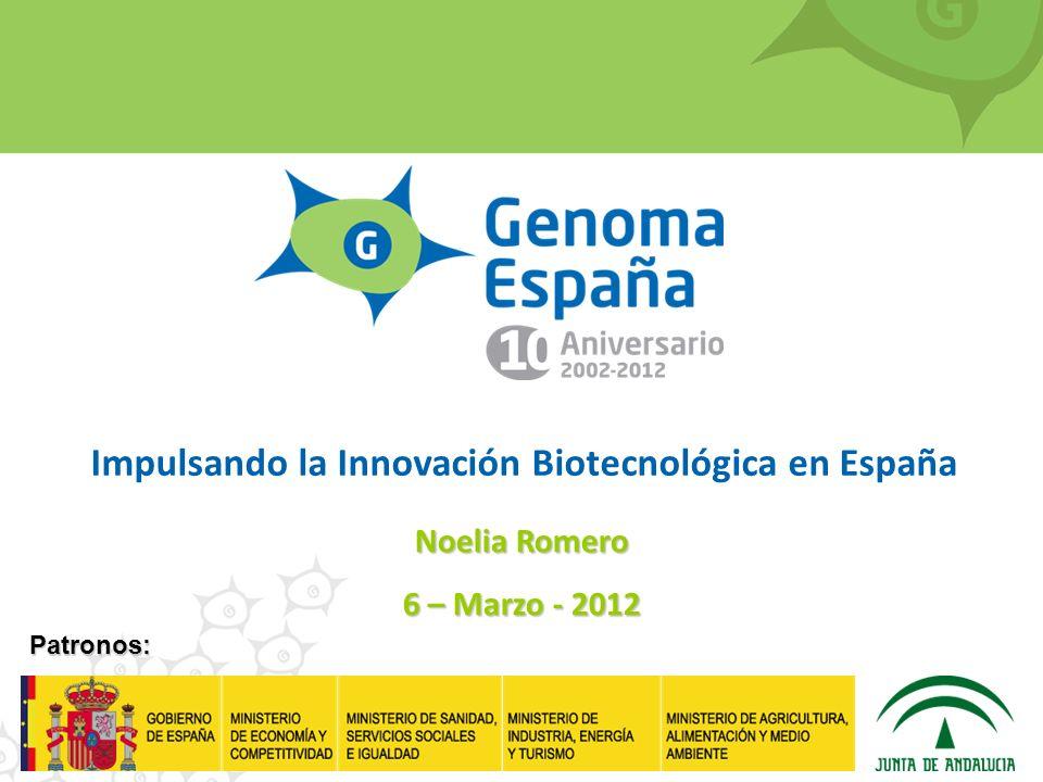 Patronos: Impulsando la Innovación Biotecnológica en España Noelia Romero 6 – Marzo - 2012