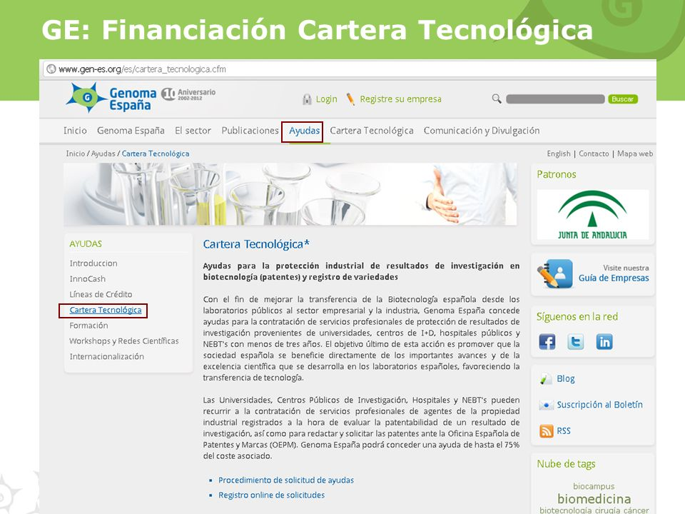 GE: Financiación Cartera Tecnológica