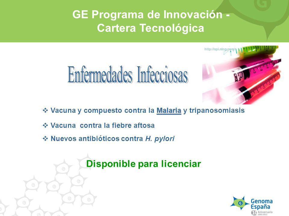 Disponible para licenciar Malaria Vacuna y compuesto contra la Malaria y tripanosomiasis Vacuna contra la fiebre aftosa Nuevos antibióticos contra H.