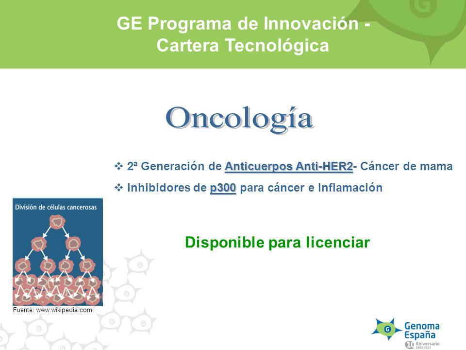 Anticuerpos Anti-HER2 2ª Generación de Anticuerpos Anti-HER2- Cáncer de mama p300 Inhibidores de p300 para cáncer e inflamación Fuente: www.wikipedia.