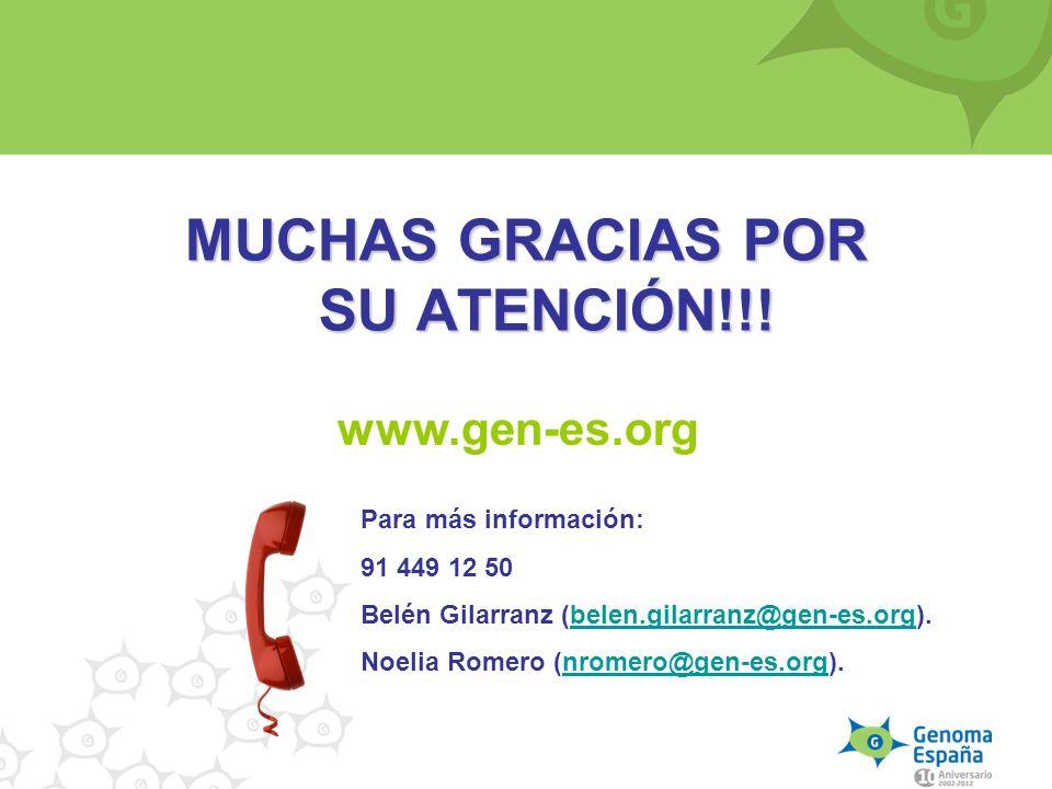 MUCHAS GRACIAS POR SU ATENCIÓN!!! Para más información: 91 449 12 50 Belén Gilarranz (belen.gilarranz@gen-es.org).belen.gilarranz@gen-es.org Noelia Ro