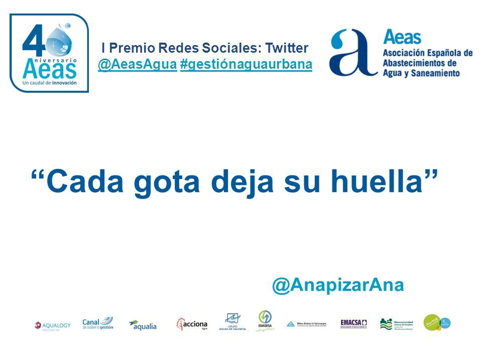 I Premio Redes Sociales: Twitter @AeasAgua #gestiónaguaurbana @AnapizarAna Cada gota deja su huella