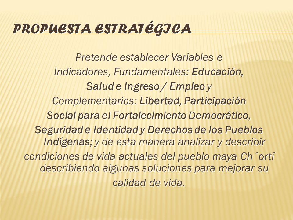 La Propuesta Estratégica para el Desarrollo Humano y Combate a la Pobreza de la Micro / Región Ch´ortì del departamento de Chiquimula, está enmarcada