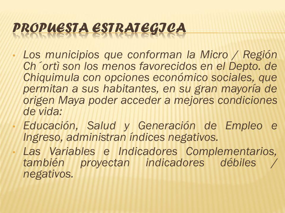 La Micro / Región Ch´ortí, está conformada por los Municipios de Camotán, Jocotán, Olopa y San Juan Ermita, presentan los índices de desarrollo socioe