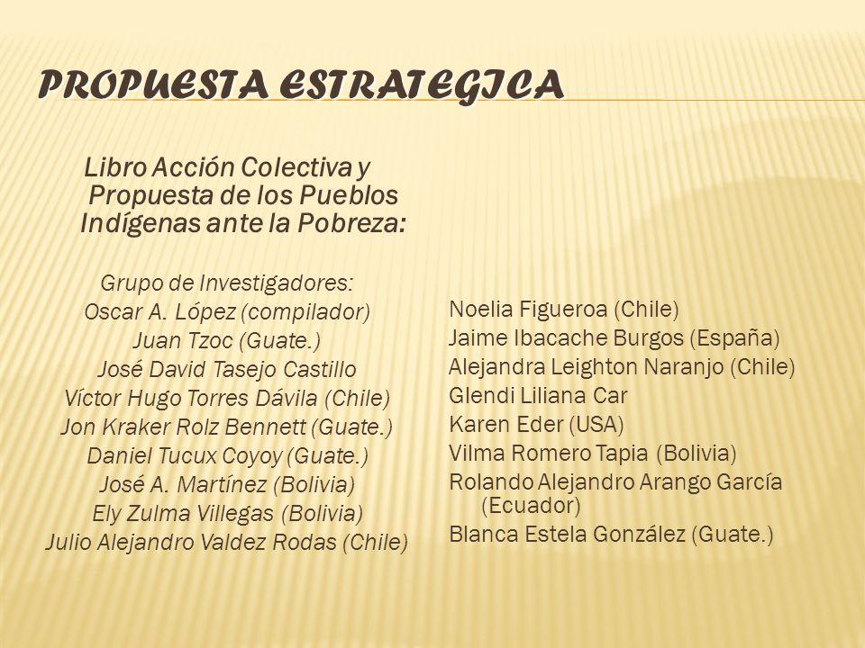 PROPUESTA ESTRATEGICA Libro Acción Colectiva y Propuesta de los Pueblos Indígenas ante la Pobreza: Grupo de Investigadores: Oscar A.