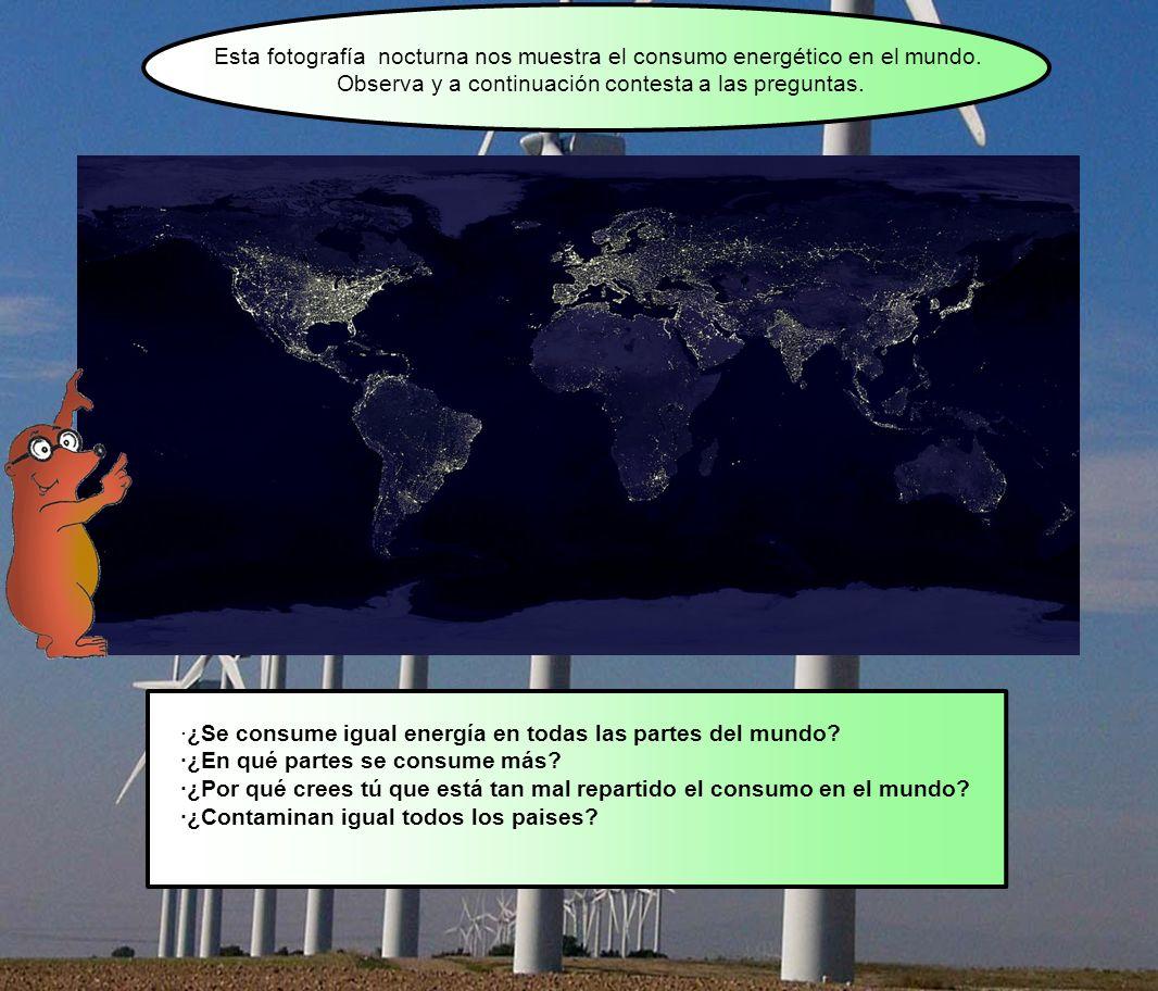 Esta fotografía nocturna nos muestra el consumo energético en el mundo. Observa y a continuación contesta a las preguntas. ·¿Se consume igual energía