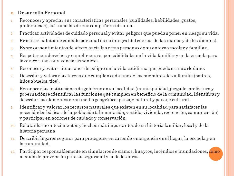Desarrollo Personal 1. Reconocer y apreciar sus características personales (cualidades, habilidades, gustos, preferencias), así como las de sus compañ