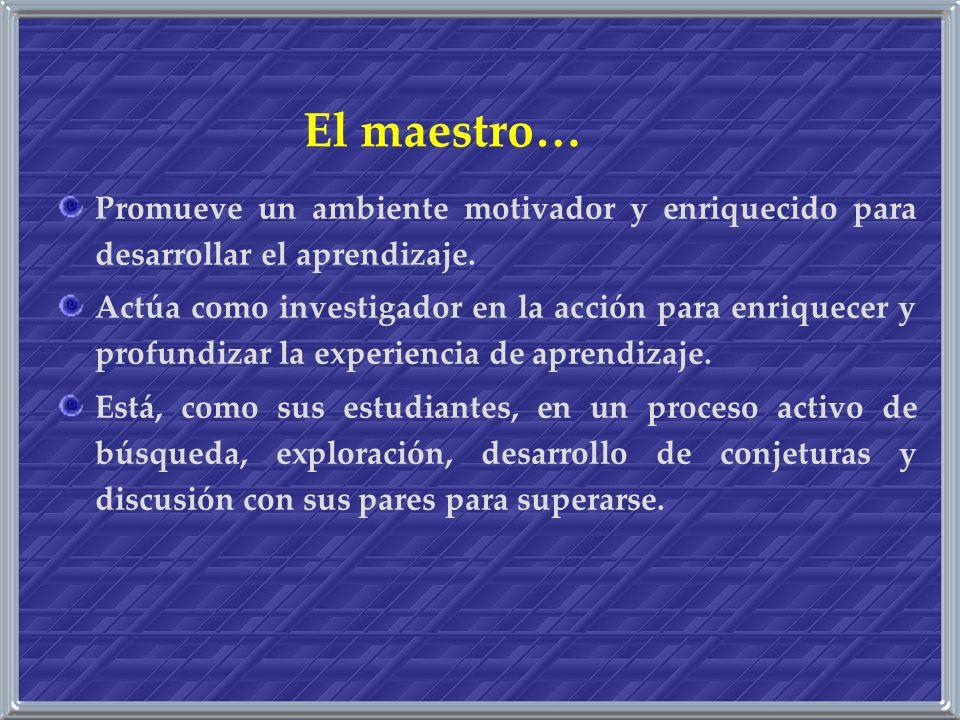El maestro… Promueve un ambiente motivador y enriquecido para desarrollar el aprendizaje. Actúa como investigador en la acción para enriquecer y profu
