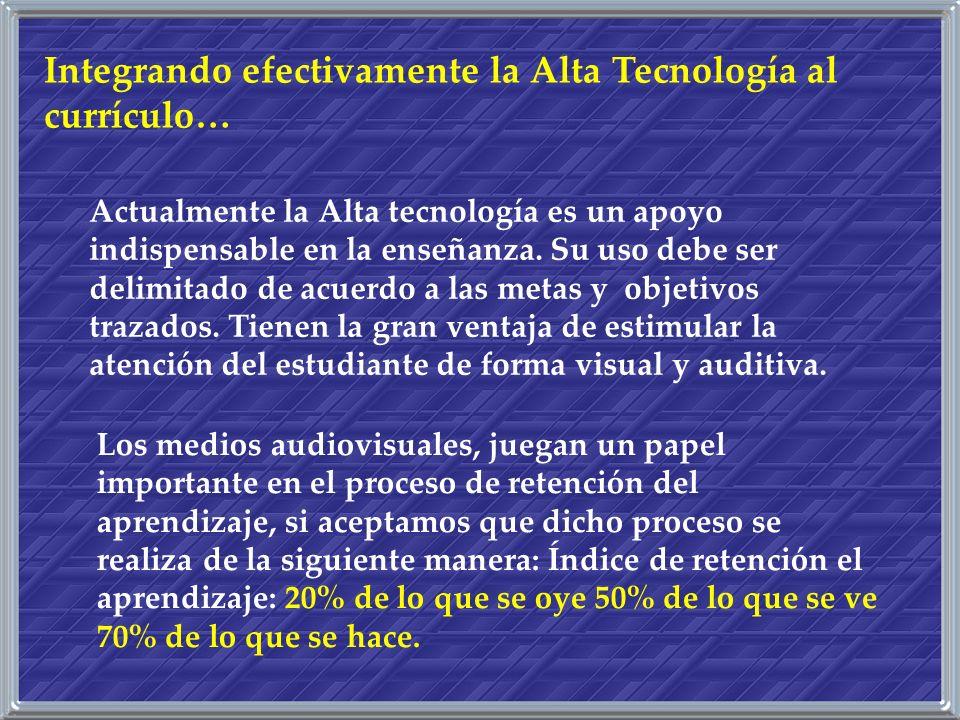 Actualmente la Alta tecnología es un apoyo indispensable en la enseñanza. Su uso debe ser delimitado de acuerdo a las metas y objetivos trazados. Tien