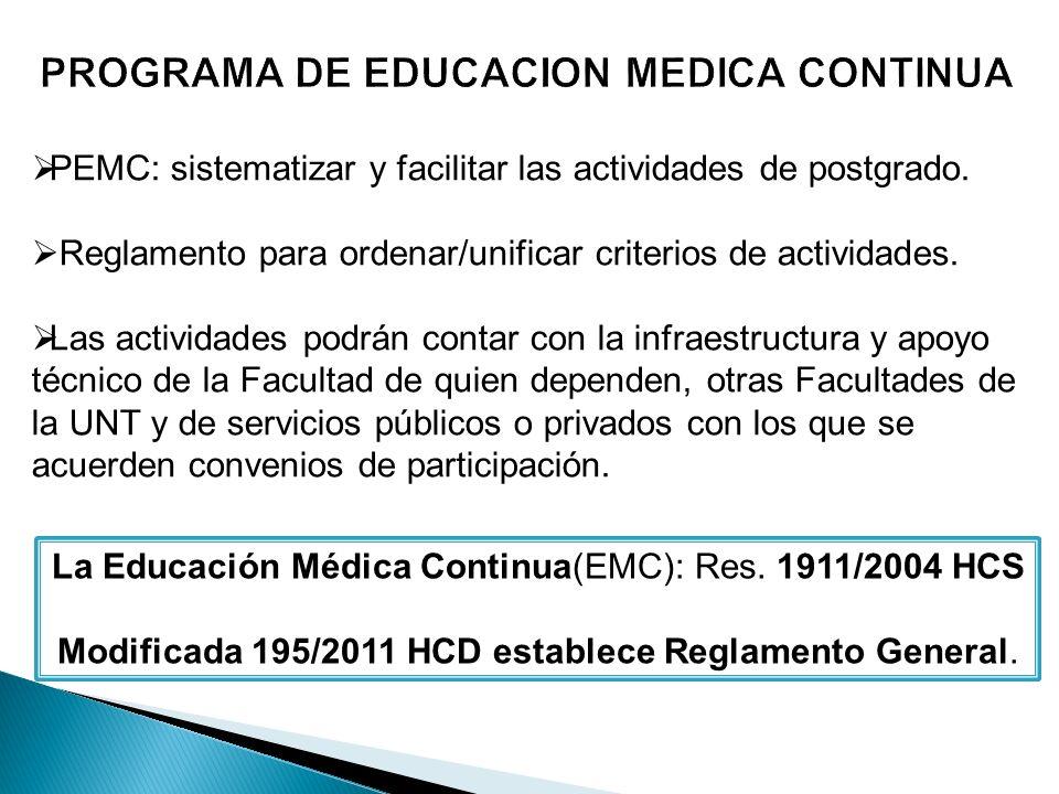 PEMC: sistematizar y facilitar las actividades de postgrado.