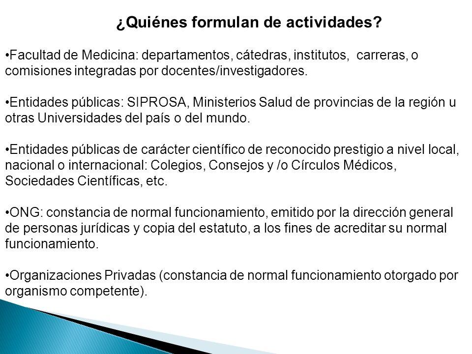Facultad de Medicina: departamentos, cátedras, institutos, carreras, o comisiones integradas por docentes/investigadores.
